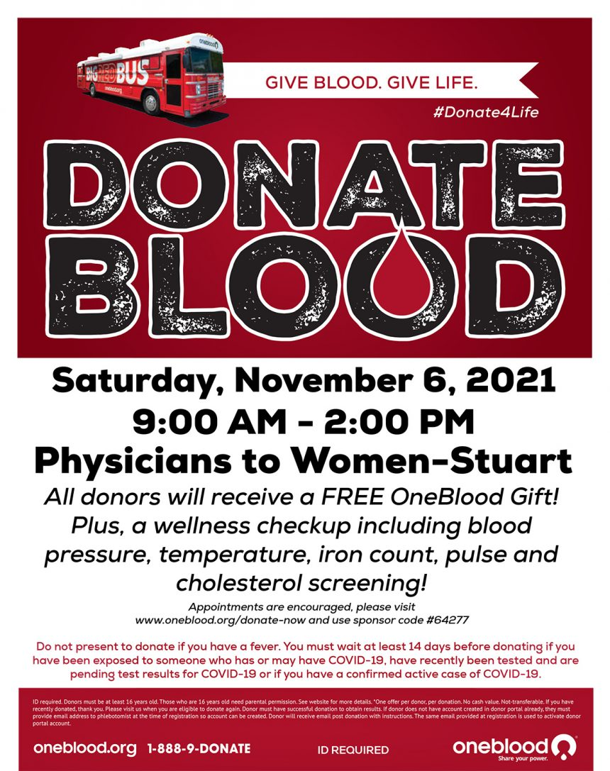 Donate Blood – Saturday Nov. 6th, 2021